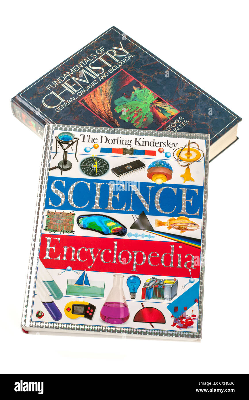 Two educational books The Dorling Kindersley Science Encyclopedia and Fundamentals of Chemistry - Stock Image