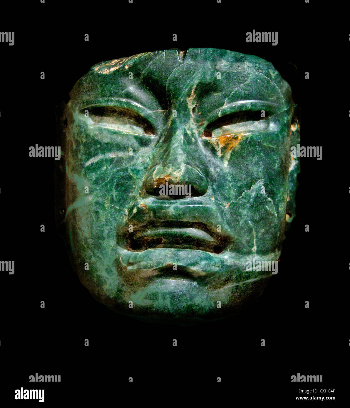 Olmec mask Jade Mask 10th–6th century BC Mexico, Mesoamerica Olmec Jadeite 17.1 x 16.5 cm - Stock Image