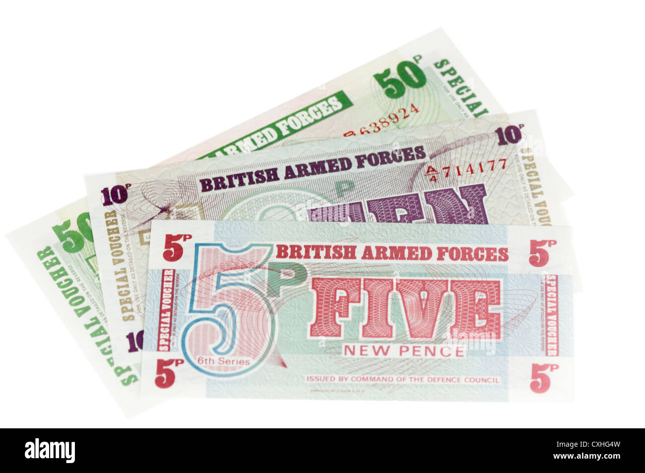 British Armed Forces currency vouchers - Stock Image