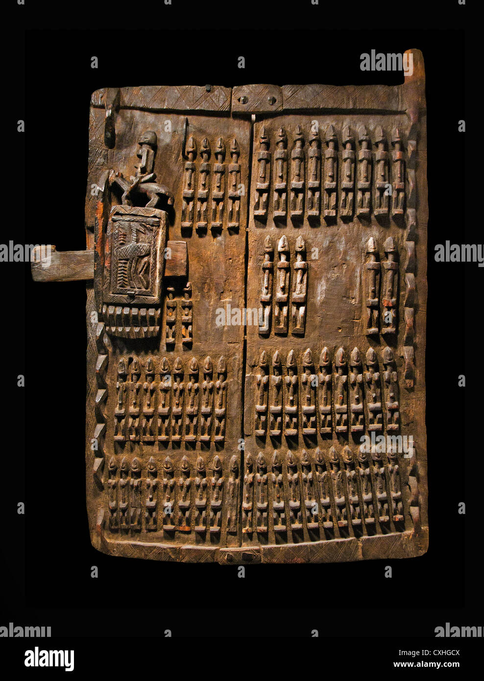 Granary Shutter and Lock Mali Dogon Peoples 19th 20 th Century Wood Iron Africa - Stock Image