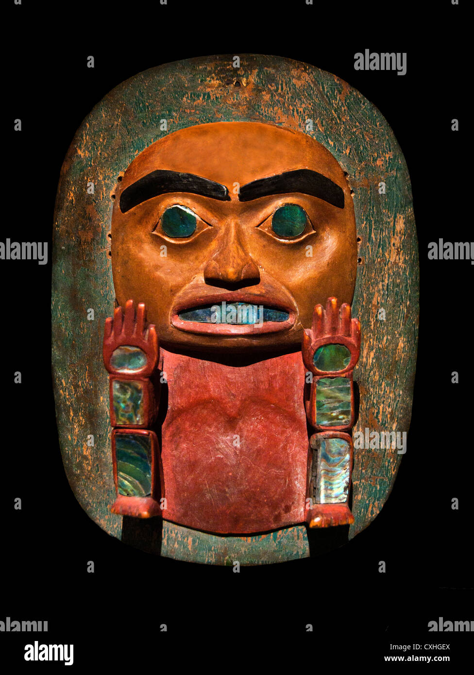 Headdress Frontlet Culture Tsimshian 1820–40 Canada British Columbia Wood abalone shell pigment Stock Photo
