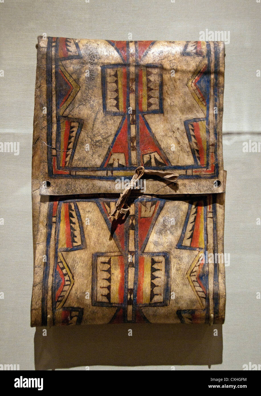 Parfleche ca. 1875 Geography United States of America Oklahoma Cheyenne Rawhide pigment Native tanned skin ties - Stock Image
