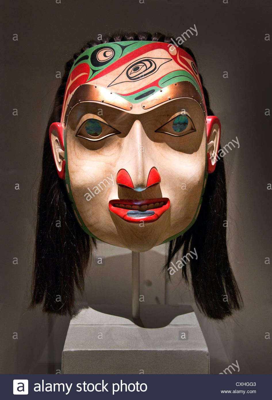 Noble Woman Mask by Robert Davidson  2001 Canada, British Columbia Culture: Haida 33 cm - Stock Image