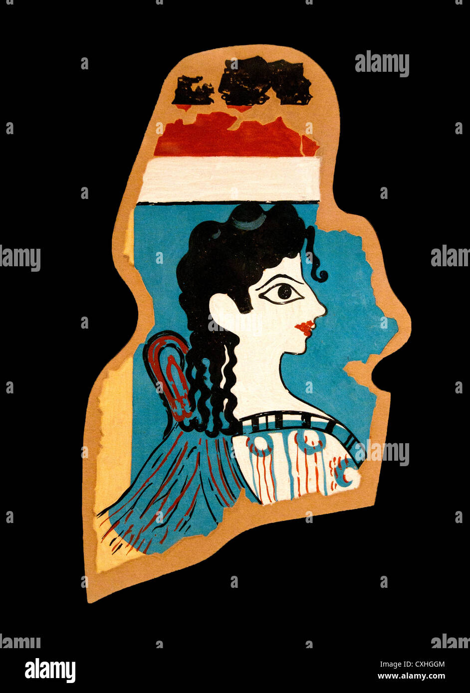 La Parisienne 1425-1300 B.C Minoan Fresco Great Palace Knossos Crete Greece  Reproduction by Emile Gilliéron 1906