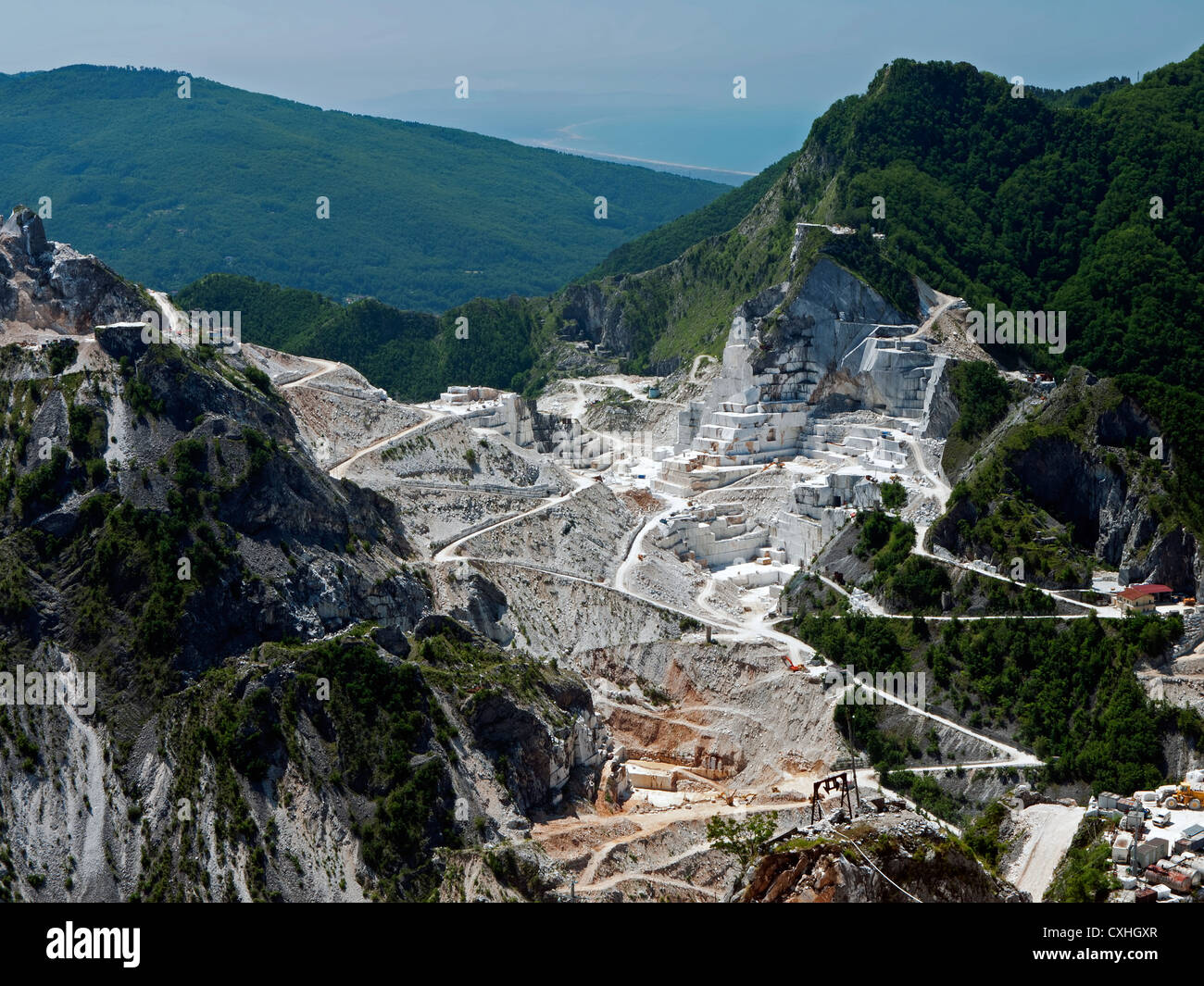 Carrara marble quarries - Stock Image