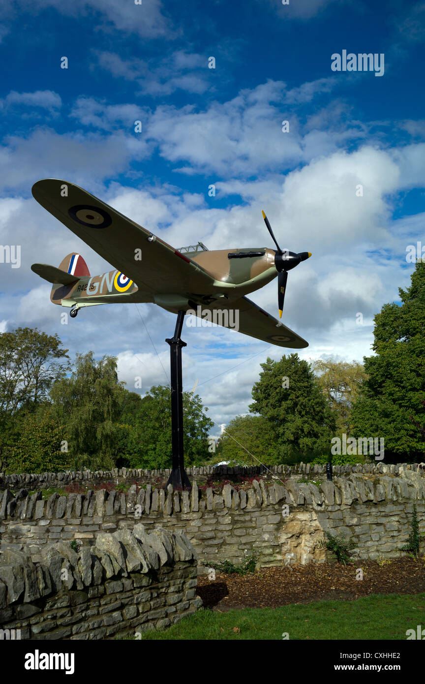 The Sidney Camm CBE memorial Full size replica of a World War 2 Hawker Hurricane in Windsor - Stock Image