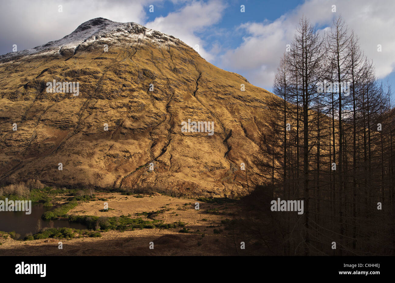 Snow-capped Stobh Dubh ('The Black Peak') in Glen Etive, Scottish Highlands, UK - Stock Image
