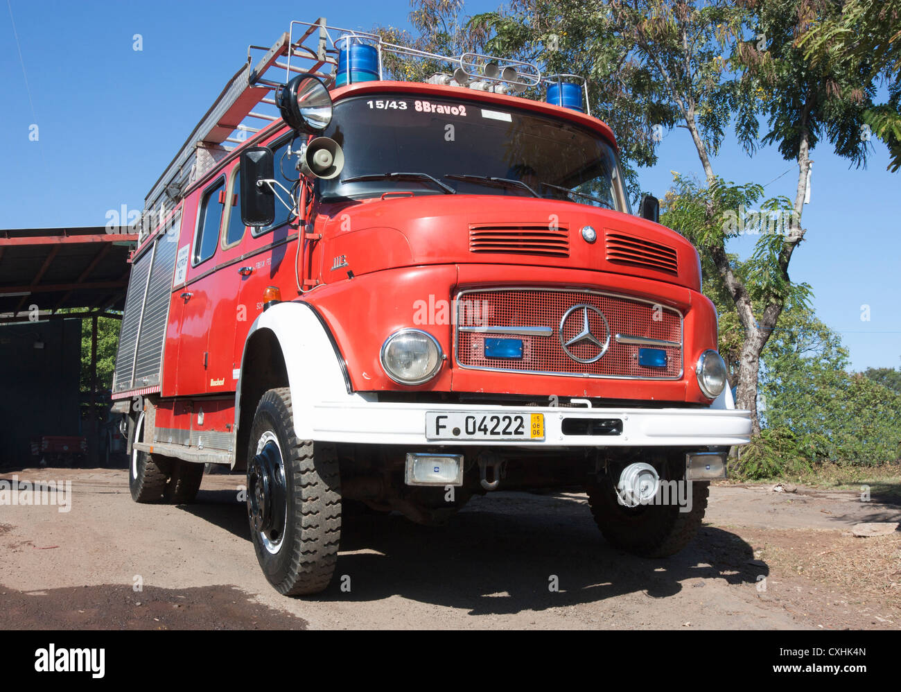 Vintage 1960s Mercedes 1113 fire truck still in front line service will the Volunteer Fire Department at Grenada - Stock Image