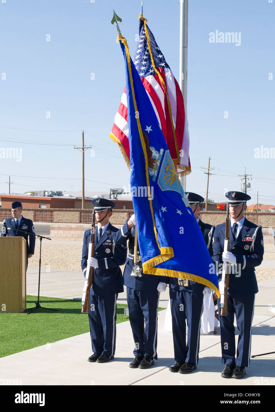 The Holloman Air Force Base, N.M., Steel Talons Honor Guard presents the colors during the singing of the national - Stock Image