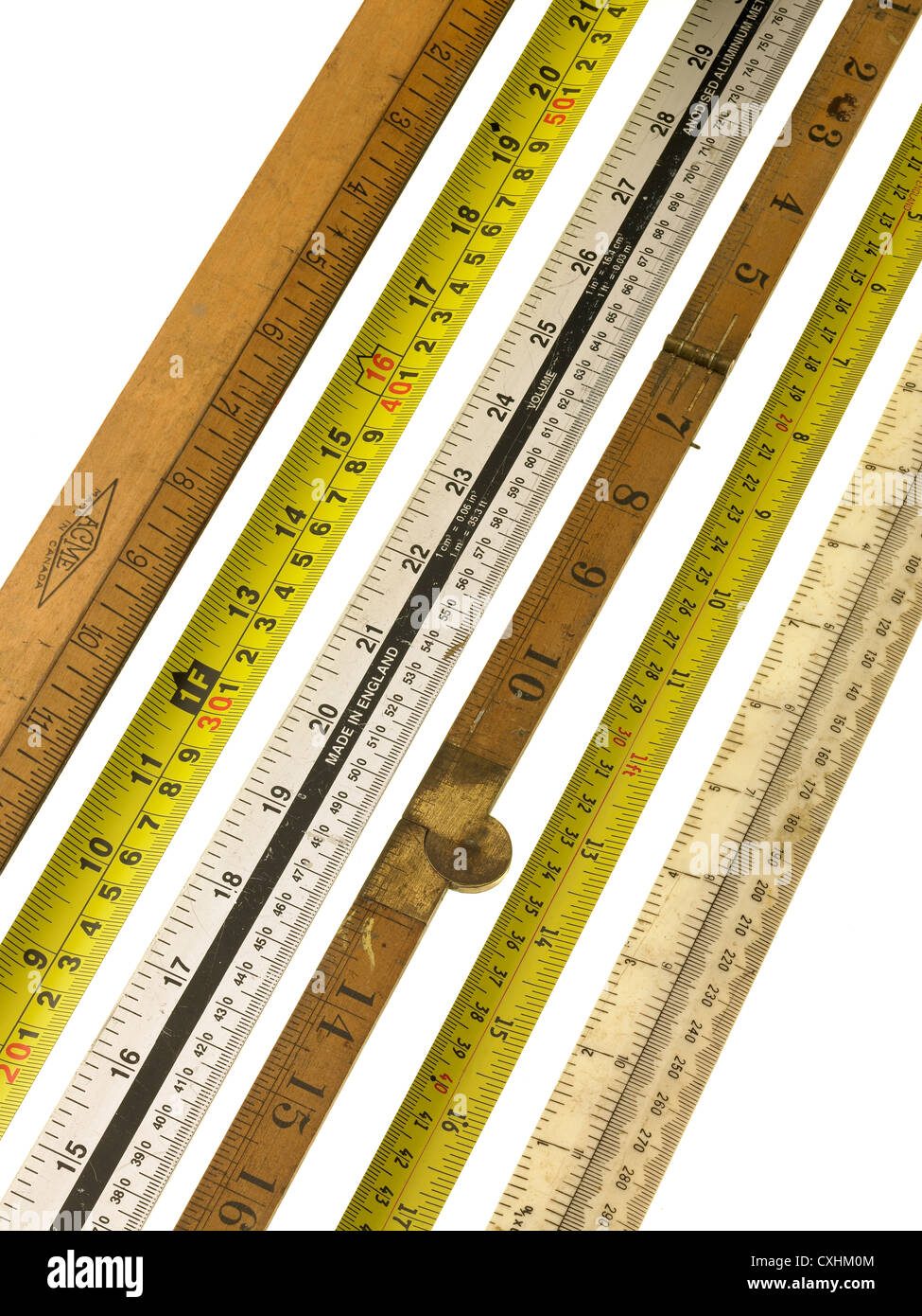 tools, rulers and measures - Stock Image