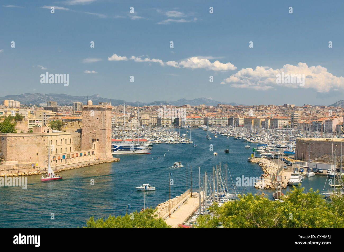 Panoramic view of Marseille and old port - Stock Image
