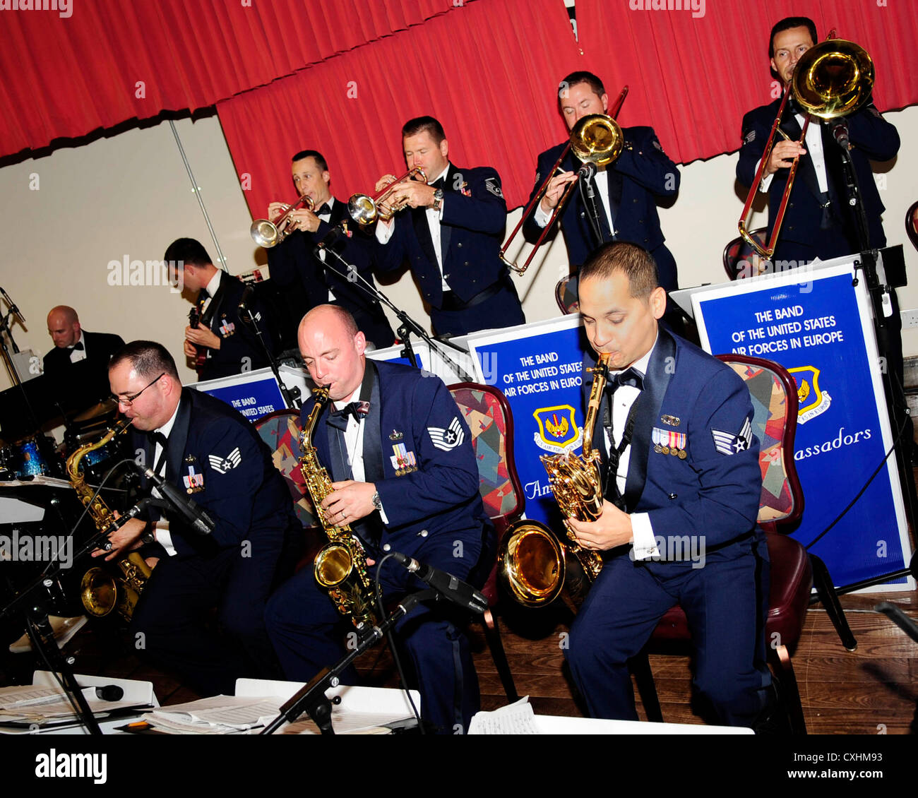 Airmen with the Ambassadors Jazz Ensemble, U.S. Air Forces in Europe Band, perform at the Galaxy Club during the Stock Photo