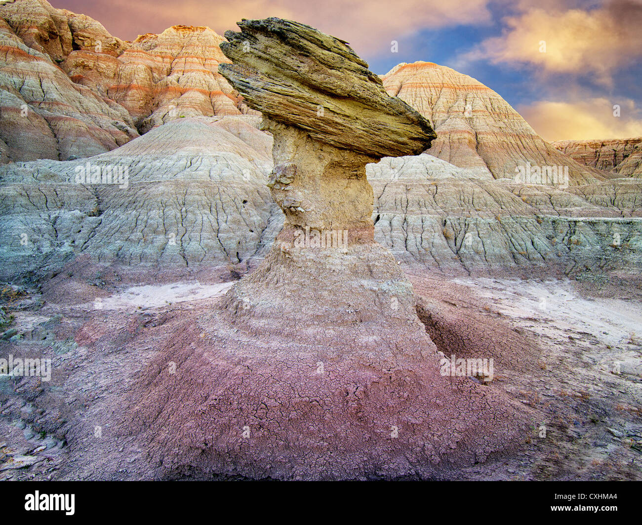 Balancing rock. Badlands National Park. South Dakota - Stock Image