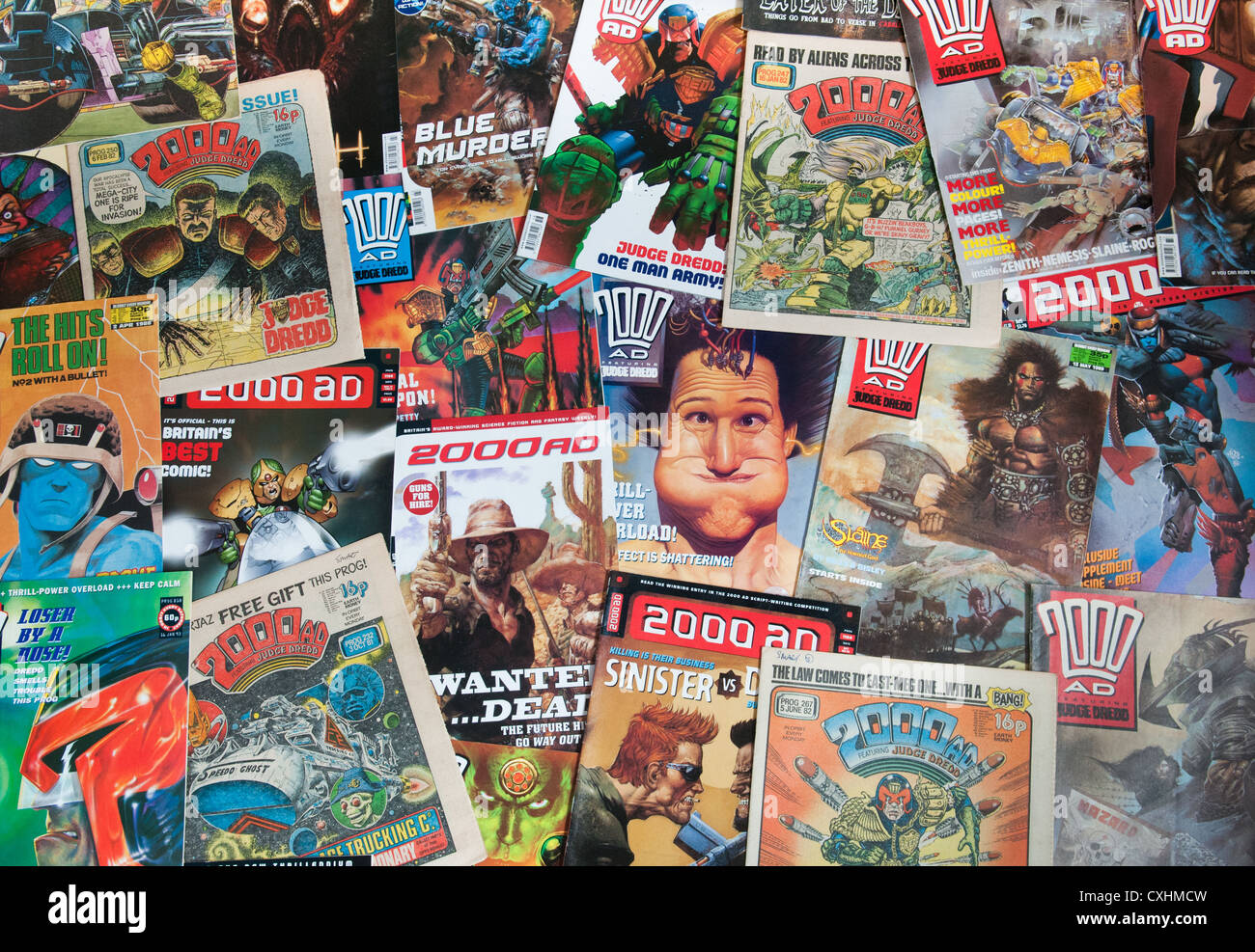 A montage of 2000AD comics dating from the 1980's. - Stock Image