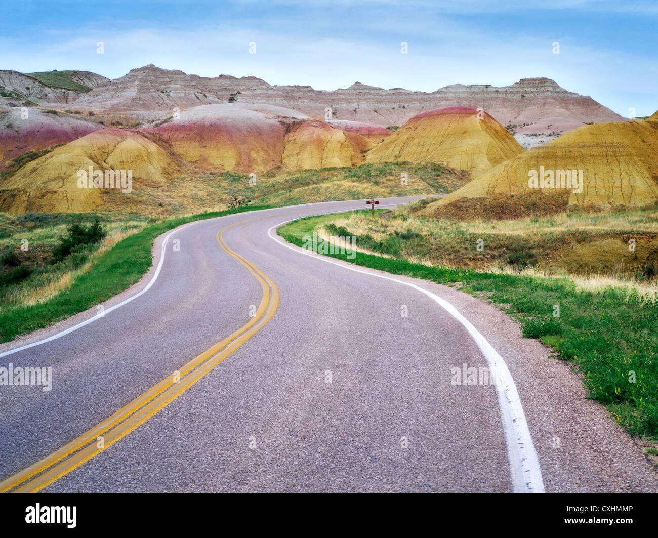 Road in Badlands National Park, South Dakota. - Stock Image