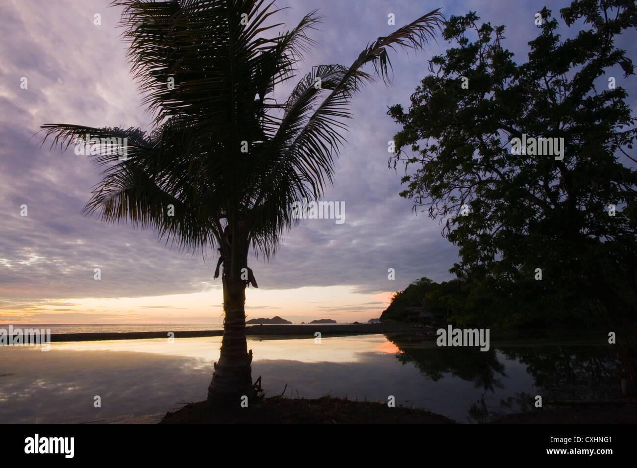 Teku Lagoon and Ocean, Tompotika Peninsula, Central Sulawesi, Indonesia, dawn - Stock Image