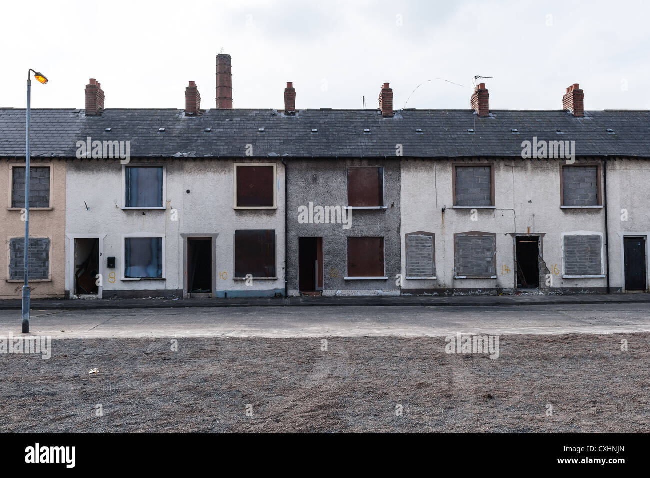 Street in Belfast under demolition. - Stock Image