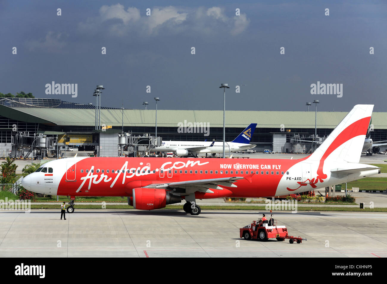 Air Asia airlines Airbus jet plane on the tarmac at KLCC airport near Kuala Lumpur, Malaysia. - Stock Image