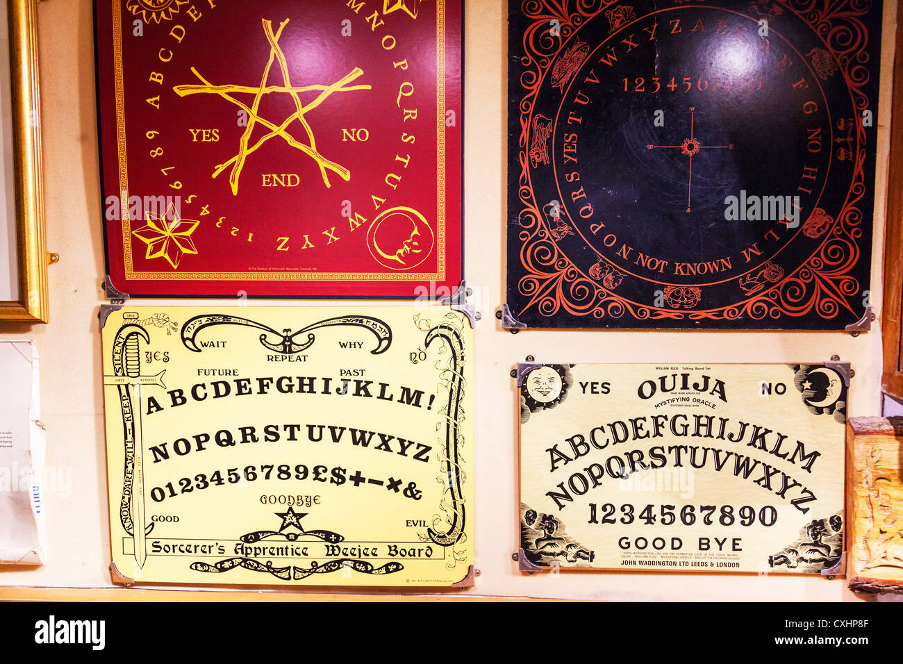 Witchcraft ouija board for summoning evil spirits boards by use of alphabet and numbers four typical summon undead - Stock Image