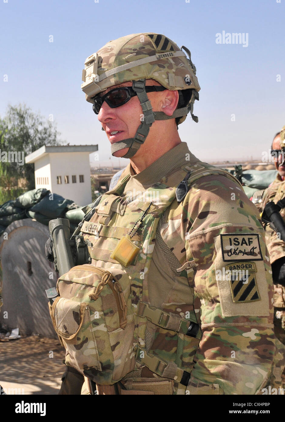 Brig. Gen. Chris Hughes appears during a battlefield circulation of the border crossing point along the international - Stock Image