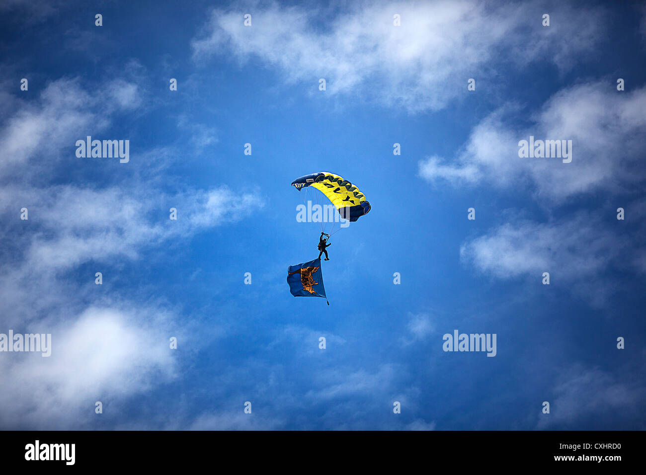 A U.S. Navy SEAL and member of the Navy Parachute Team, the Leap Frogs, sails to the ground during the 2012 Kaneohe - Stock Image