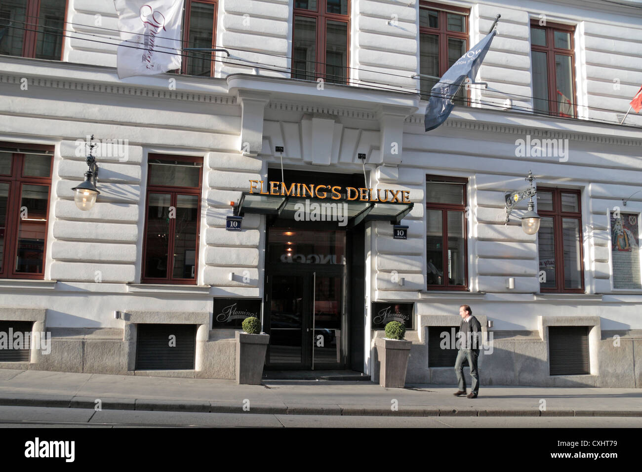 Entrance to the Fleming's Deluxe Hotel in Vienna, Austria. - Stock Image