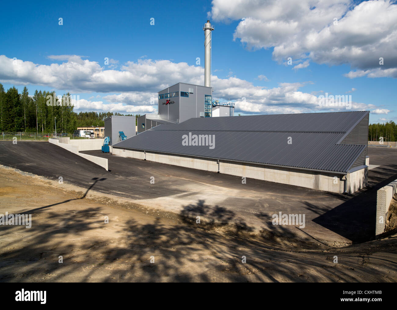 Brand new communal district heating power plant for a small town , Finland - Stock Image