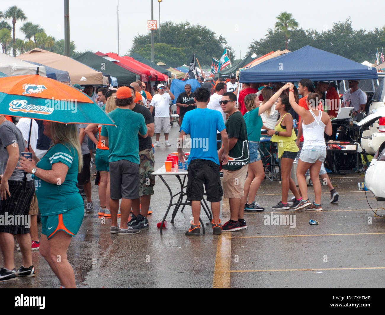 tailgate parties in the car park at sun life stadium miami florida usa - Stock Image