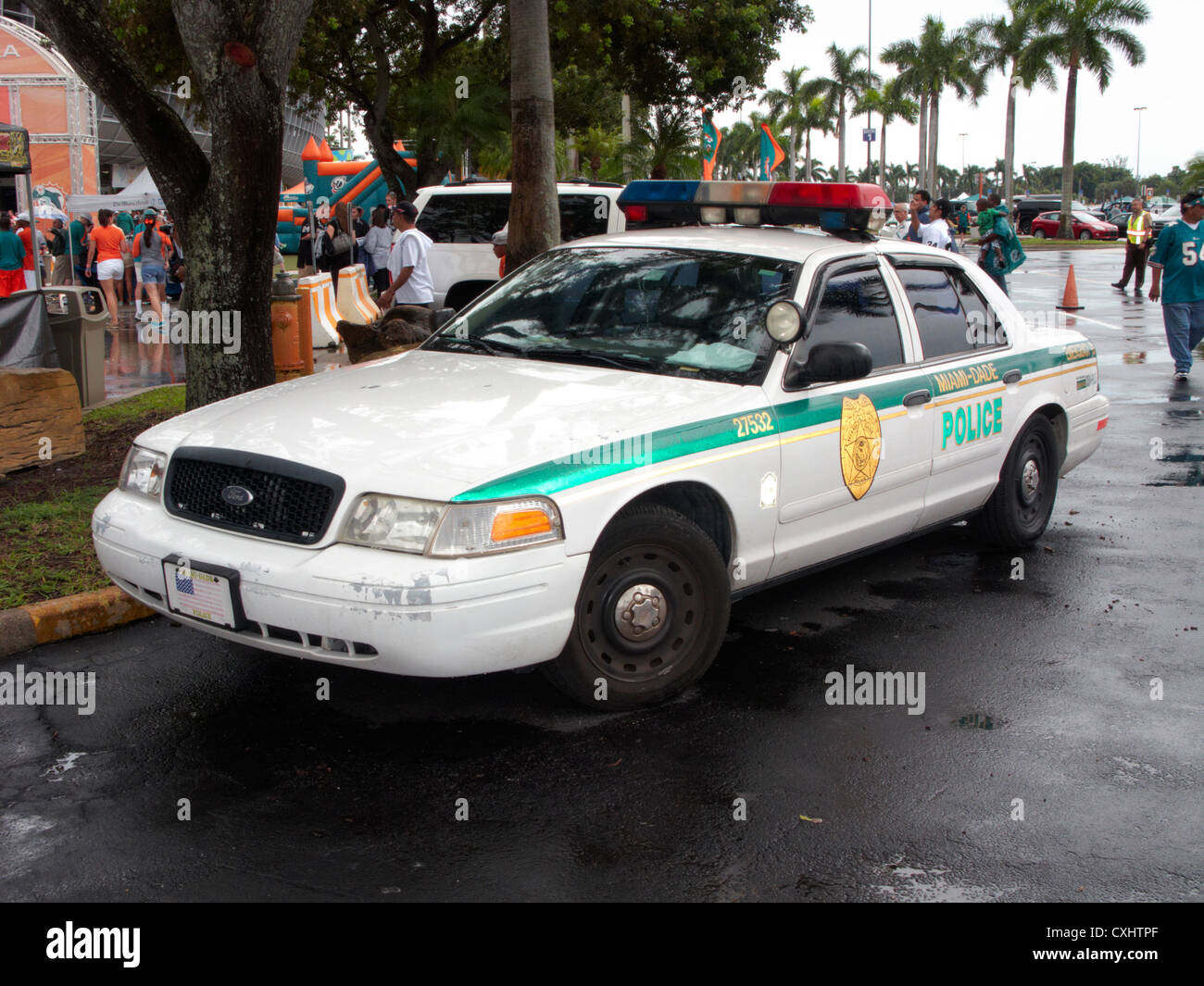 miami dade police patrol car at sun life stadium Miami Florida usa - Stock Image