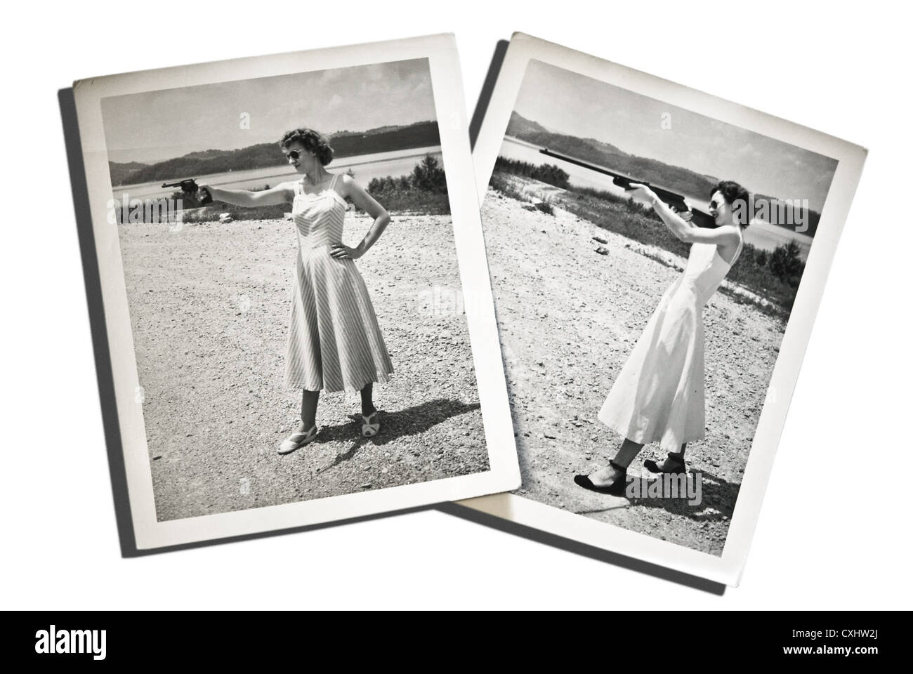 Two real, vintage photos of young women posing, aiming guns. These are from the 1940's, they have a timeless - Stock Image
