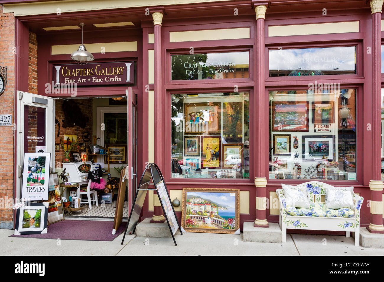Art and crafts store on Broadway in downtown Saratoga Springs, New York State, USA - Stock Image