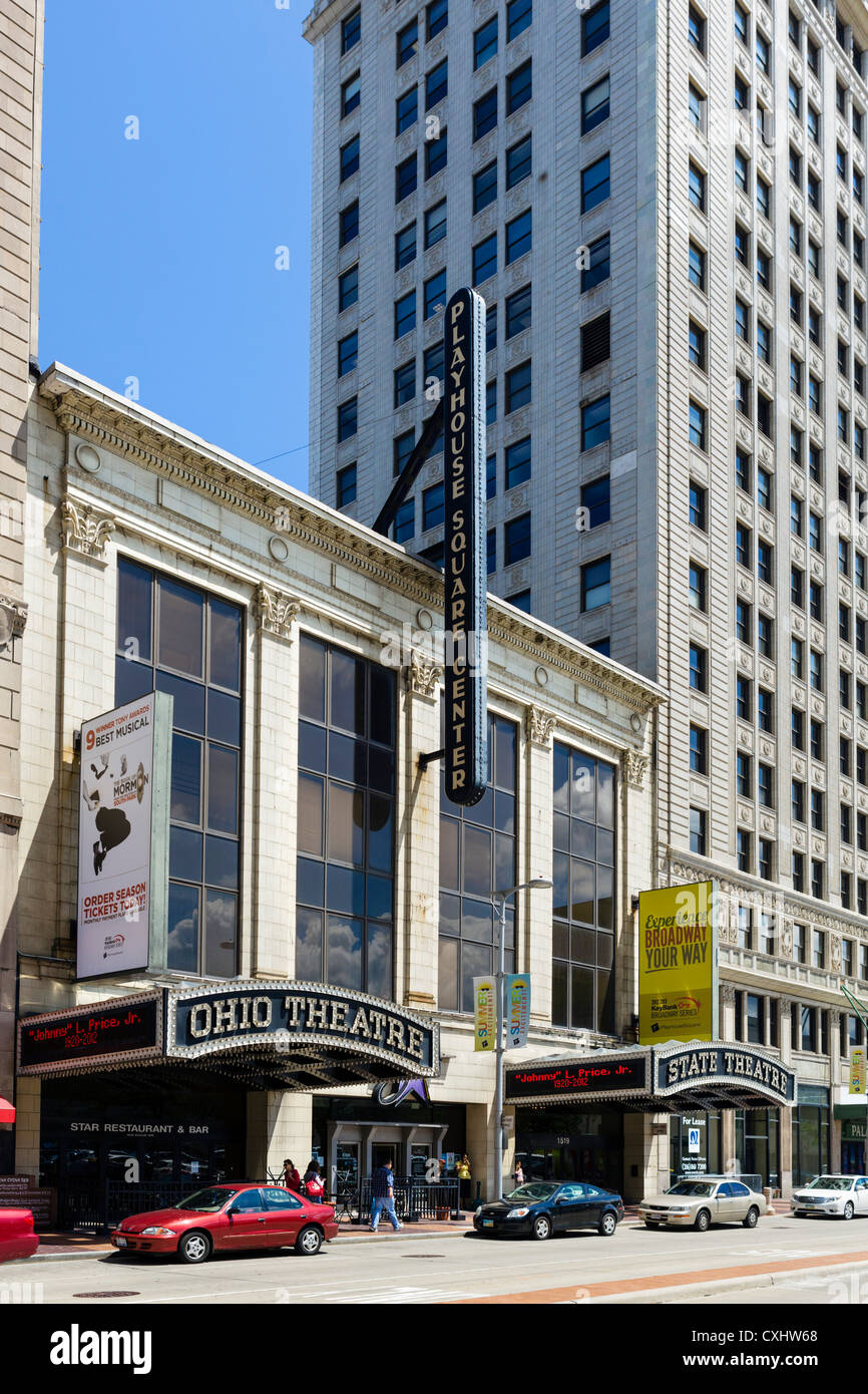 Ohio and State Theaters at the Playhouse Square Center, Euclid Avenue in downtown Cleveland, Ohio, USA - Stock Image