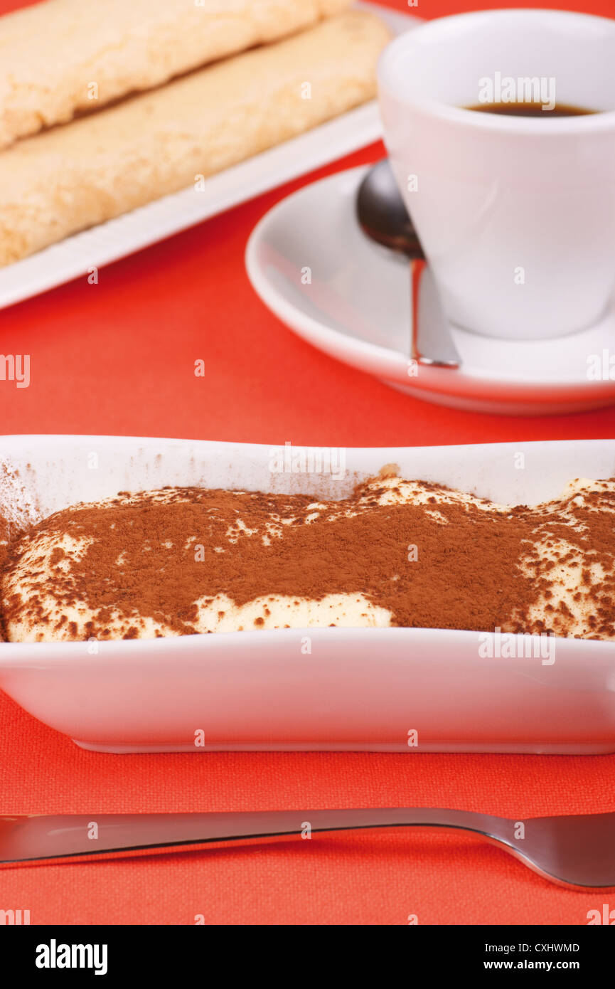 Tiramisù cake served on a white plate. Savoiardi and cup of coffee out of focus in the background - Stock Image