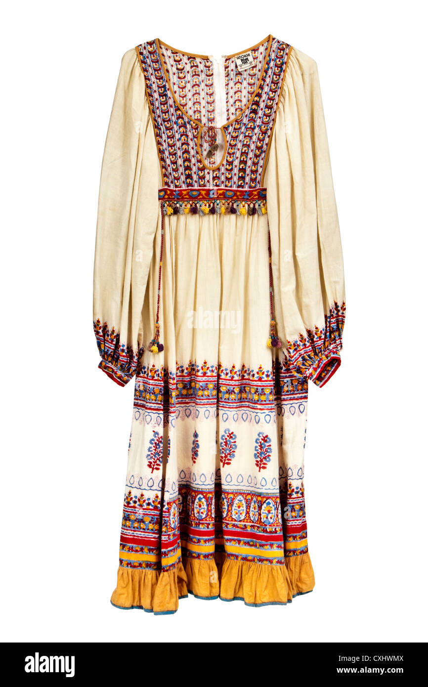 Vintage 1970's original Anokhi dress (early Monsoon) - Stock Image