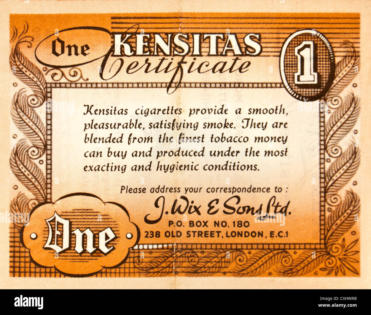1930's Kensitas 'One Point' gift Certificate. The Certificates or coupons were given away with Kensitas - Stock Image