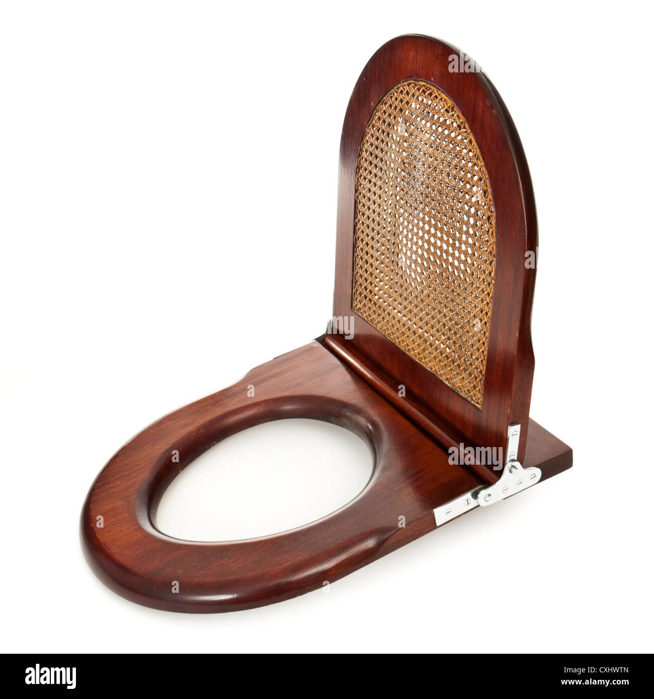 Antique mahogany toilet seat - Stock Image
