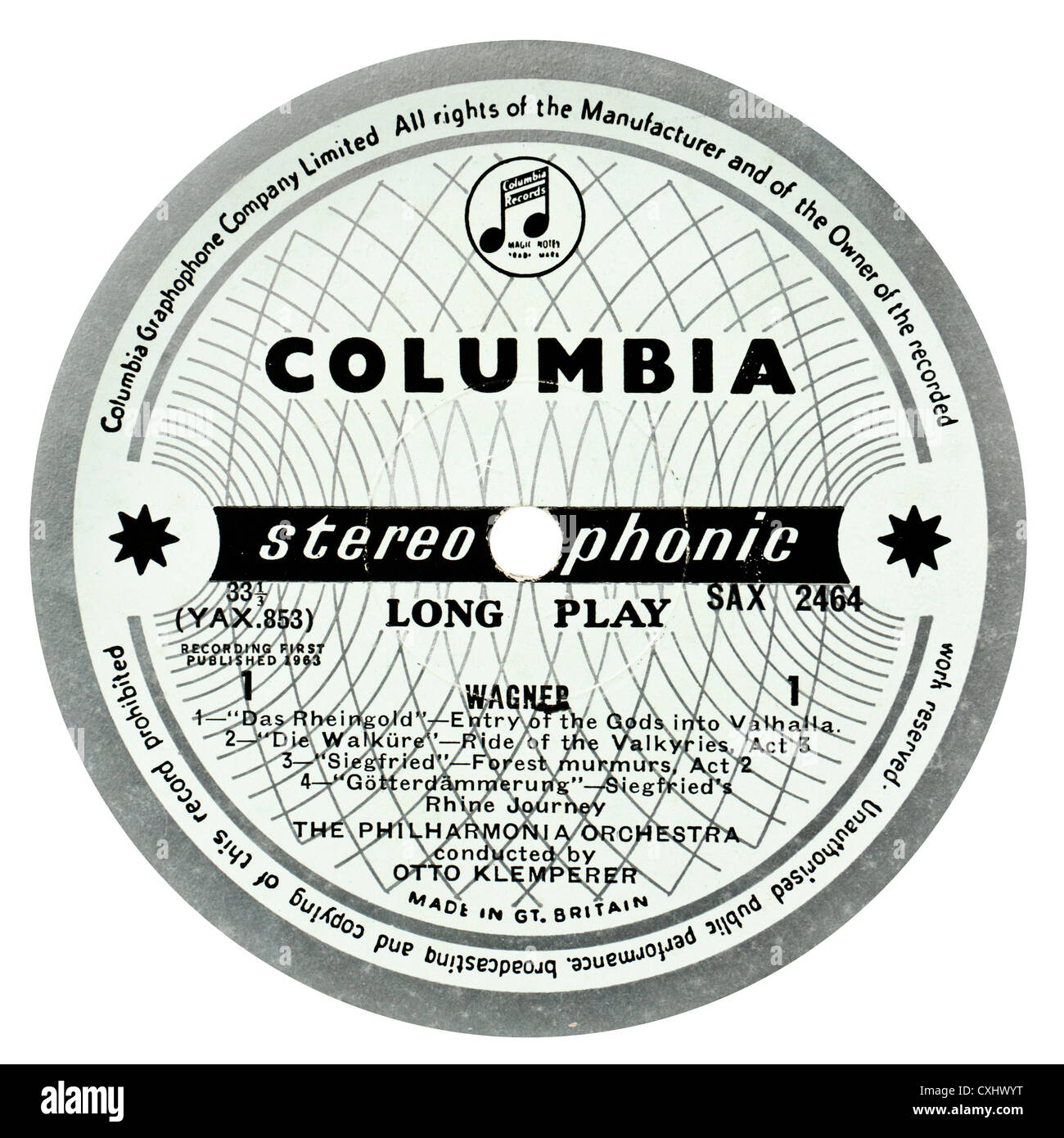 "Example of very rare Columbia SAX 2464 classical record label - ""Klemperer  Conducts More Wagner"""