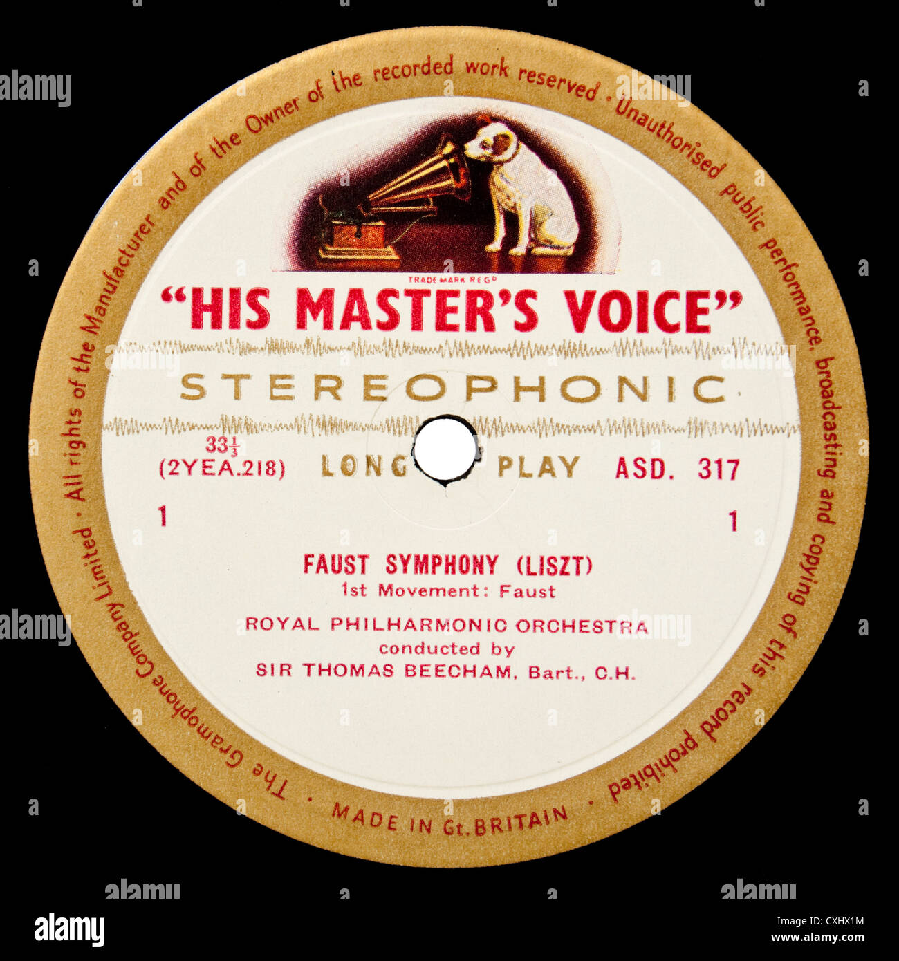 Example of very rare HMV ASD317 classical record label - 'A Faust Symphony' (Orpheus) by Franz Liszt - Stock Image