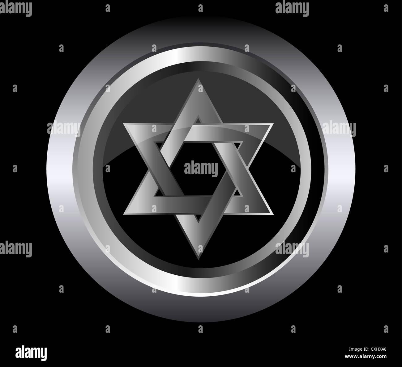 hebrew Jewish Star of magen david in black metal button vector illustration - Stock Image