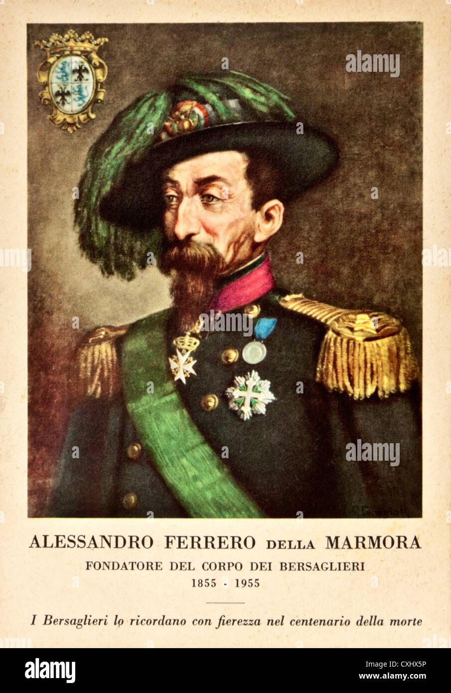 Vintage 1955 postcard commemorating the 100th anniversary of the death of Alessandro Ferrero della Marmora (1799 - Stock Image