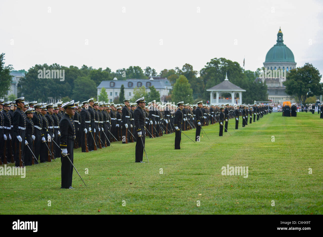The Brigade of Midshipmen assemble by company for the Chief of Naval Operations Adm. Jonathan Greenert, the guest - Stock Image