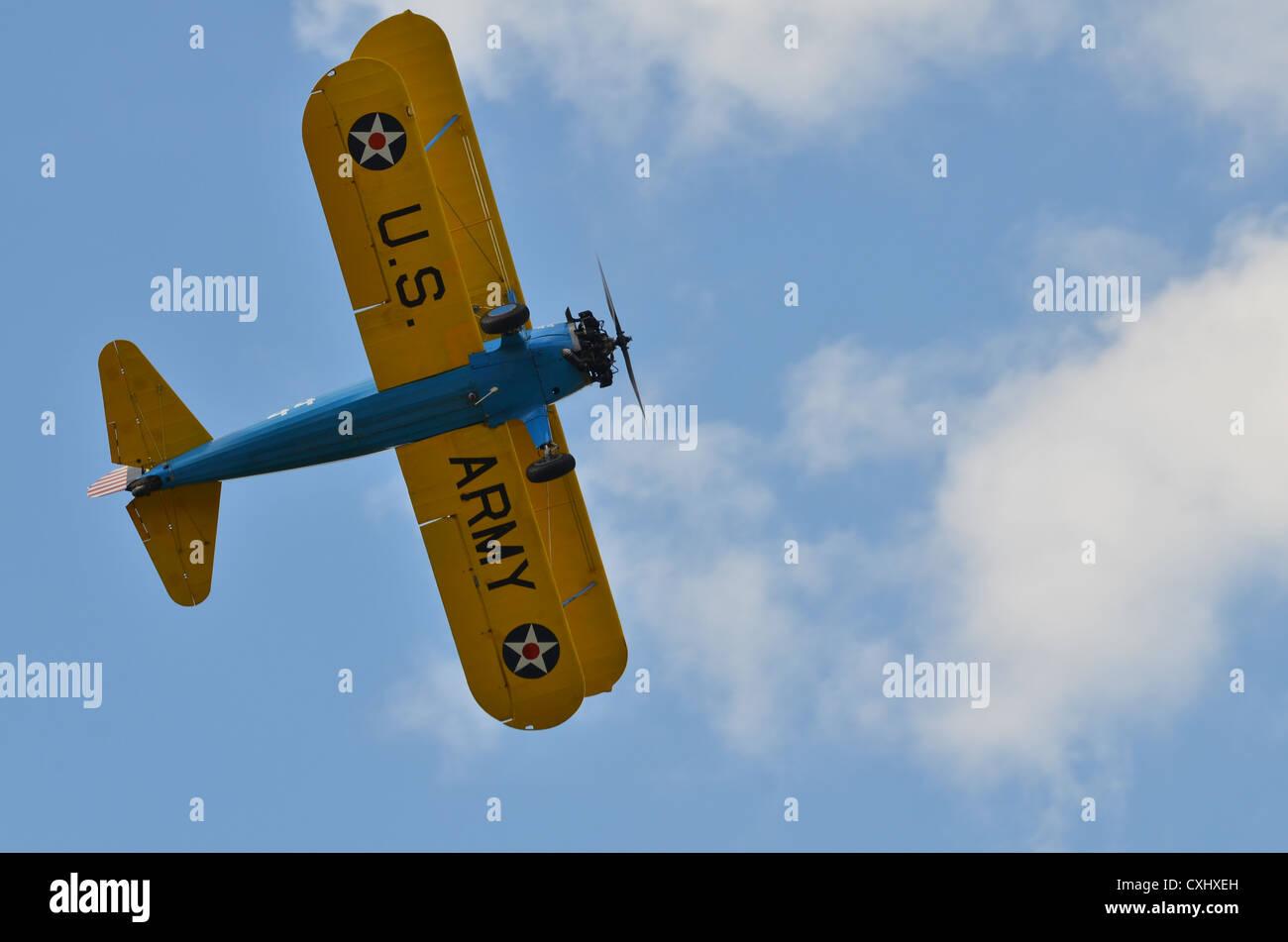 Stearman PT-17 biplane in US Army markings - Stock Image