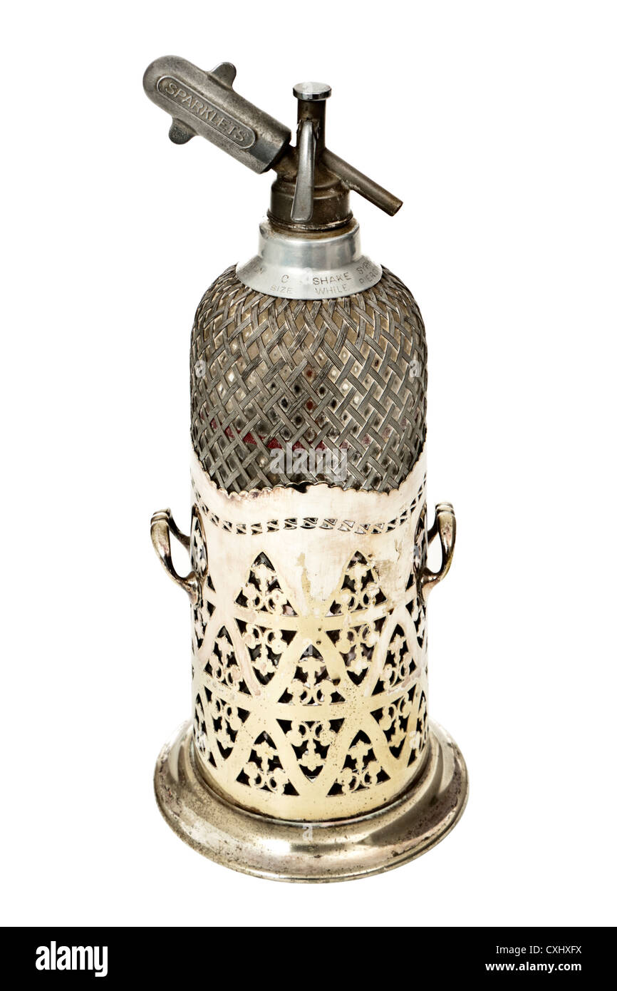 Vintage Sparklets soda syphon bottle with Silver jacket by Mappin and Webb (London) - Stock Image