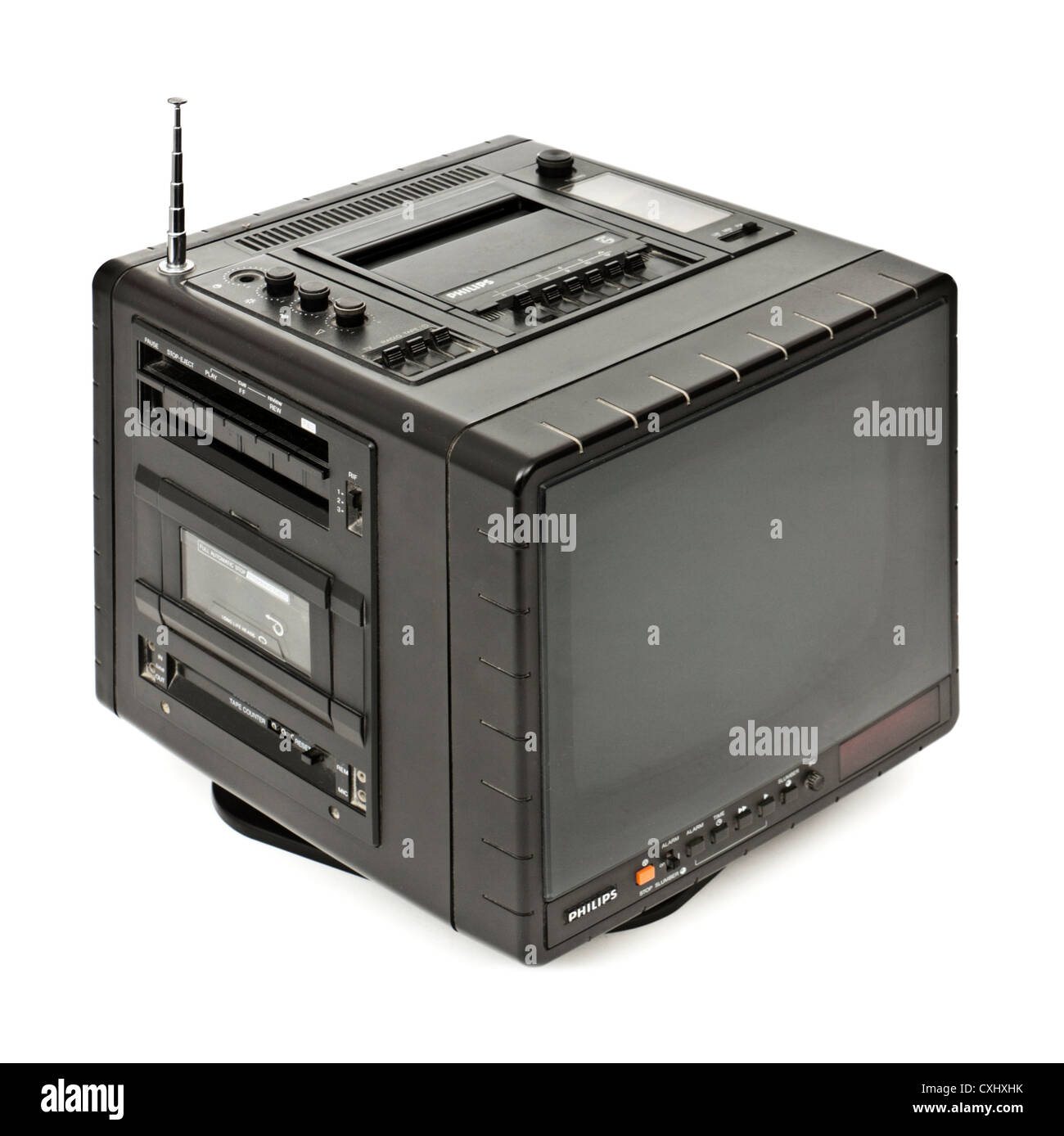 Rare vintage (1980) Philips 9TC 2100 all-in-one portable B&W television with built-in cassette recorder, radio - Stock Image