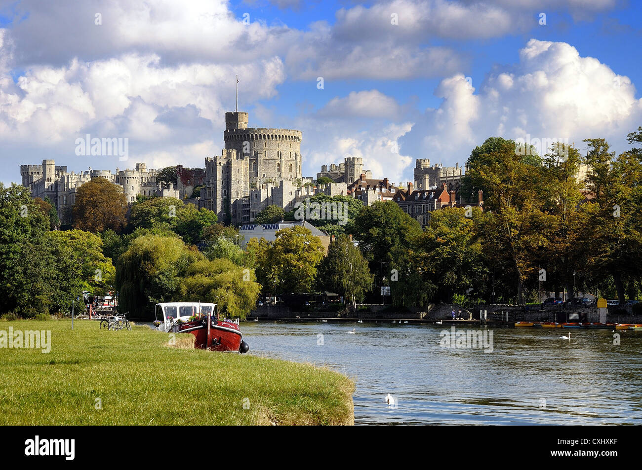 Exterior of Windsor Castle with the River Thames in the foreground Berkshire Great Britain England UK - Stock Image