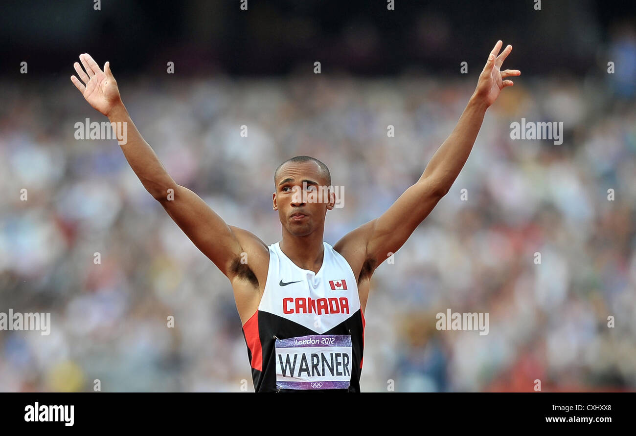 Damian Warner (CAN, Canada) celebrates during the decathlon javelin - Stock Image
