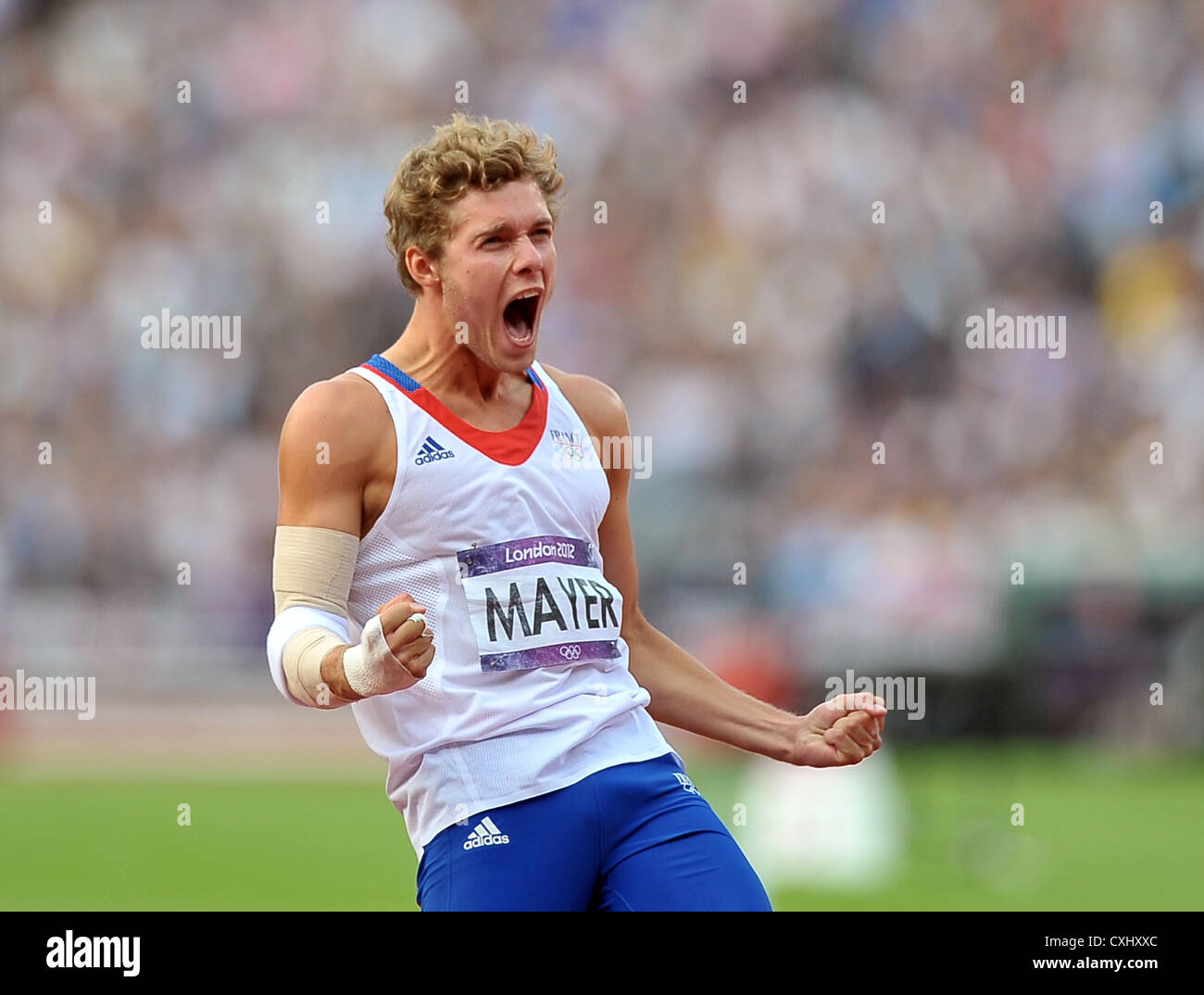 France's Kevin Mayer celebrates. - Stock Image