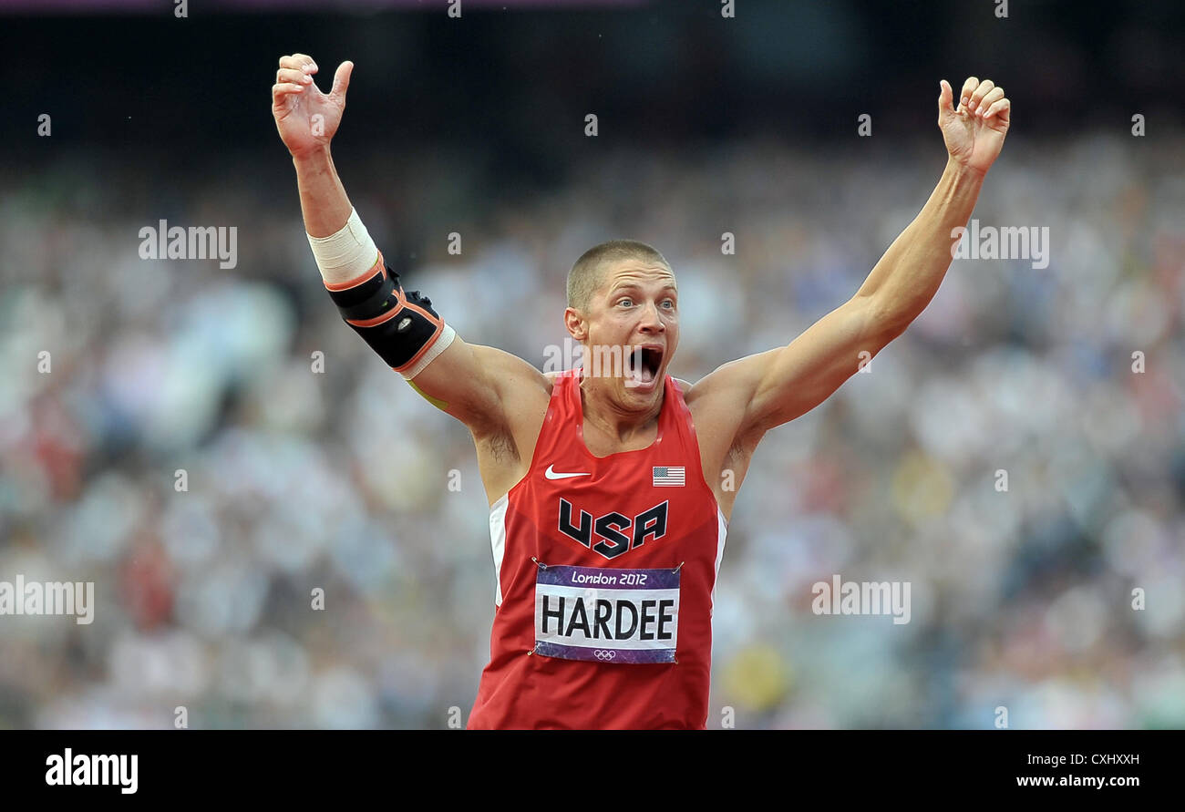 USA's Trey Hardee celebrates. - Stock Image