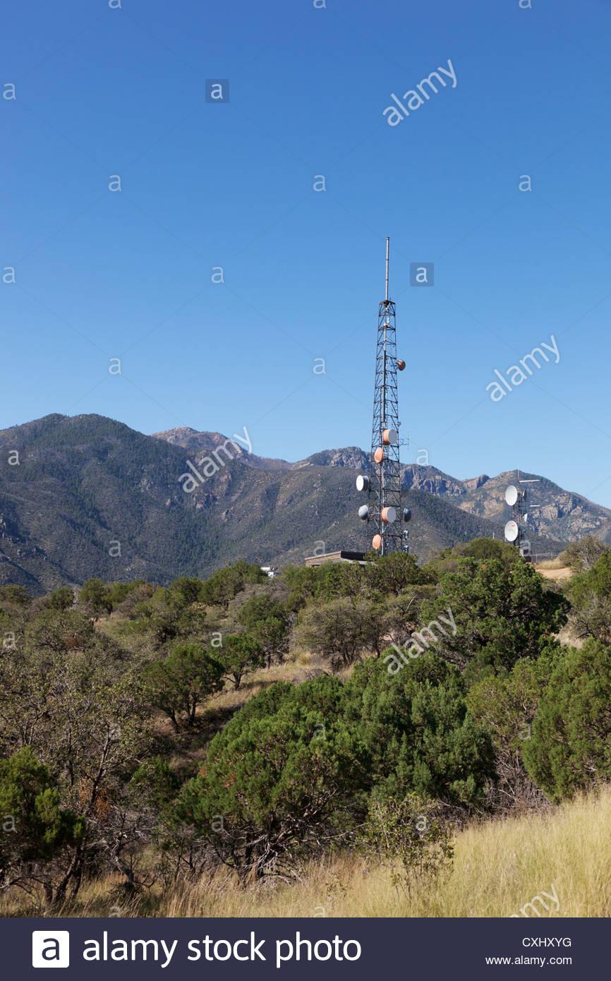 Communications Towers in Santa Rita Mountains Arizona - Stock Image