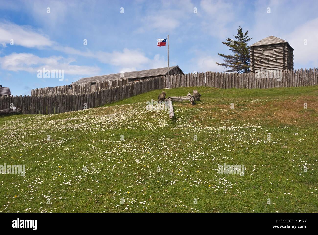Elk198-4144 Chile, Patagonia, Straights of Magellan, Fort Bulnes 1843 - Stock Image